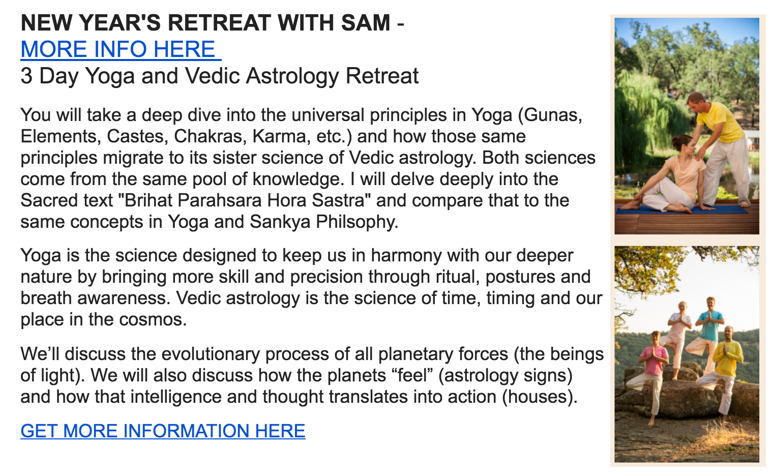 Yoga and Vedic Astrology New Years Course